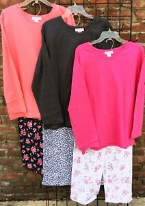 New 100% Cotton Pajama Sets Solid Top Floral Bottom 1X  2X  3X