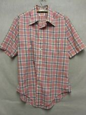 W4598 Size 15 1/2 Men's Tod Clancy's Red Plaid Short Sleeved Button Down Shirt