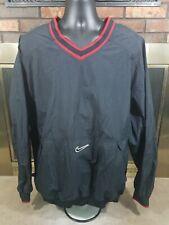 Vintage Nike Mens Black Red Big Swoosh Pullover Windbreaker Jacket Size XXL