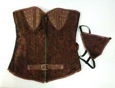 New Women's Lttcbro BUSTIER Corset & G-STRING Size Large Brown Lace Up Steampunk
