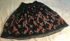 1300yr Japan Kiryu Textile Skirt Elastic Waist fits XS, S, M, L Black, Rose New