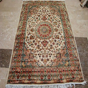 (6 x 4)' Ivory Flowers Medallion Lovely Hand Knotted Area Rug Wool Silk Carpet