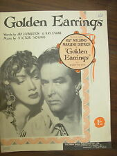 Vintage sheet music-golden earrings-marlene dietrich-pour piano voix
