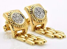18k Yellow Gold Retro Vintage Presidential Watch Pave Diamond Drop Link Earrings