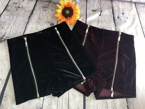 Lot of 2 - NEW Cecico Velvet zipper High Rise Shorts burgundy, black Sz. S