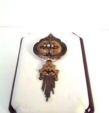 Antique Victorian 14kt YG Taille D'Epargne Seed Pearl Chatelaine Pin- GAL Aprsl