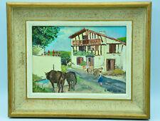 Tableau peinture sur bois Lucien METRAUX peintre côté scène au pays Basque