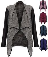 New Womens Wet Look Cardigan Pu PVC Arms Long Sleeve Open Waterfall Top 8-14