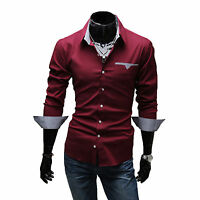 Mens Casual Formal Shirts Slim Fit Long Sleeve Business Dress Smart Shirt Tops