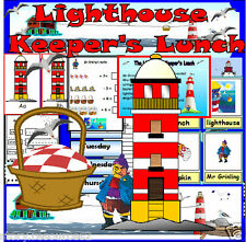 THE LIGHTHOUSE KEEPER'S LUNCH  SEASIDE teaching resources story sack EYFS ks1 cd
