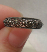 Estate~Marcasite Flower & Dot Design 925 Sterling Silver Ring Size 10