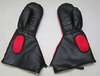 Vintage Snowmobile Red Black Mitts Mittens Winter Gloves Small Medium Japan