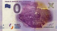 BILLET 2016 ZERO 0€ SOUVENIR TRAIN DES CÉVENNES PAS JETON FRENCH BANKNOTE COINS