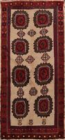 Geometric Balouch Afghan Oriental Area Rug Hand-knotted Wool Brown Carpet 3x5 ft