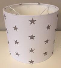 White With Grey Stars Lampshade Handmade In 30cm Drum, Nursery, Bedroom