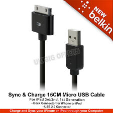 iPhone 4/4s,3/3Gs,ipod touch,Clasic/nano 15Cm Charging/ Sync Cable Belkin