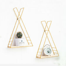 Set of 2 Triangle Cube Wall Shelves Storage Shelving Antique Gold Metal Frame