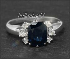 3,10ct Diamant & Saphir Damen Ring, Antik Handarbeit um 1925 aus 585 Weißgold
