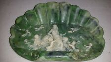 """Antique 1980 Vintage """"Venus in a Clamshell""""  Soap Dish Genuine Incolay Stone"""