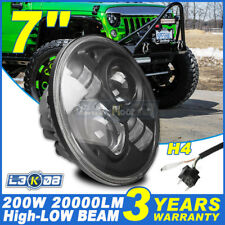 H4 7Inch 200W CREE LED Driving Light Headlight Lamp Kit Round For Jeep Wrangler