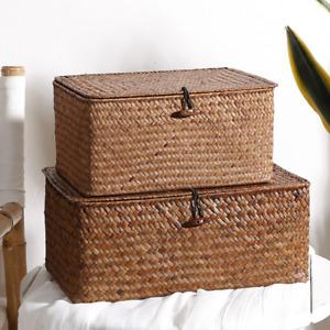 Handmade straw storage basket desktop woven covered rattan storage box home