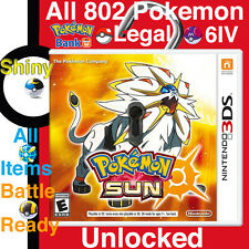 Unlocked Pokemon Sun + All 802 Pokemon 100% Legal Shiny Max Items, Event 3DS 2DS