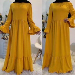 Muslim Women Abaya Long Sleeve Maxi Dress Robes Ruffles Kaftan Dubai Party Gown
