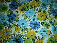 "Vtg Cotton Flannelette Fabric Aqua Blue Gold Flowers Roses Zinnias 42.5"" x 5 YDs"