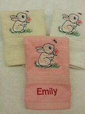 A PERSONALISED BUNNY RABBIT FACE CLOTH  NAME CHRISTMAS GIFT FLANNEL  EMBROIDERED