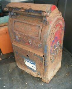 Antique Vintage Cast Iron US Postal Mailbox Mail Box Post Office Letters Letter