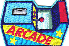"""ARCADE"" -  Iron On Embroidered Patch- Sports, Words, Games, Compete"