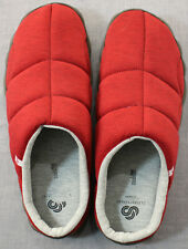 Clarks Cloudsteppers Mens Red Quilted Step Rest Clogs Jersey Slippers  NEW 12 M