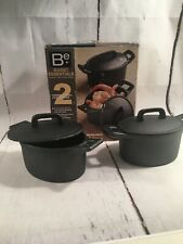 2 Pre-seasoned Cast Iron Covered Oval Casseroles Pots By Basic Essentials