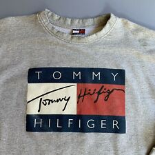 Vtg 90s Tommy Hilfiger Big Flag Logo Sweatshirt Made In USA XL