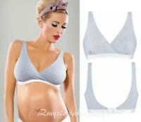 GREY MARL MATERNITY BRA NURSING SLEEP BRA SOFT COTTON NON WIRED ALL SIZES