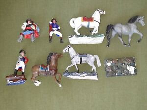 Metal HORSE FIGURES X3 & 2 RIDER - Hand Painted - Unknown Brand - See Pictures