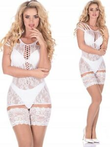 Bridal Hold-Ups Stockings Natural/White Lace 15 Den Transparent&soft M XL