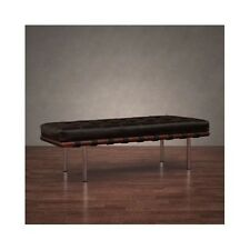 Leather Bench Brown Entry Entryway Foot Shoe Bed Foyer Coffee Table Mid Century