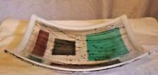 Valley Style Fused Glass Plate Sloped Blue Purple White 10'