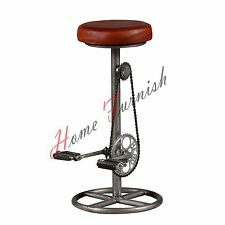 Industrial Leather & Iron Bicycle Bar Stool