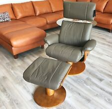NEW Norfolk Dark Brown Leather Chair Massaging Recliner Walnut Wood Mac Motion