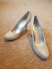 Silver Sparkle Glitter Platform High Heels Party Shoes Size 6