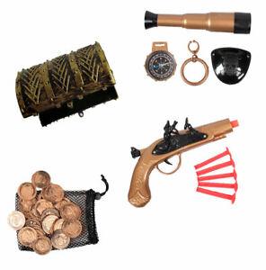 Zubehör Piraten Kostüm Pistole Fernrohr Augenklappe Ohrring Münzen Schatztruhe
