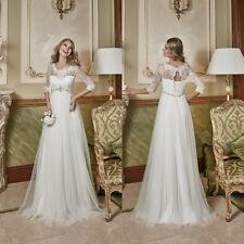 White/Ivory Empire Maternity Wedding Dress Half Sleeves Tulle Bridal Gown Custom