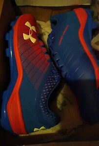 Under Armour Team Yard Low Tpu Baseball Cleats blue red rare  new mens 10 new