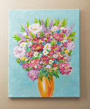Flower Bouquet in Vase on Canvas Stretcher Frame Acrylic Painting Abstract Art