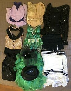 Dance Costume Girls LOT 7 Outfits (12 Items) - Contemporary, Jazz, Belly Dance