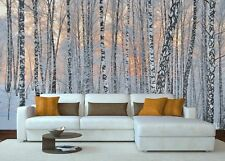 Original wall deco Mural sticker living room inspiration nature birch winter