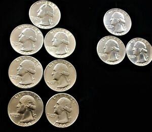 Lot Of 10 Washington Quarter 90% Silver 1964-1963 3-D 5-P Au? Bu? You judge Nice