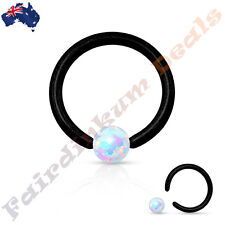 Bead Ring With White Synthetic Opal Surgical Steel Black Ion Plated Captive